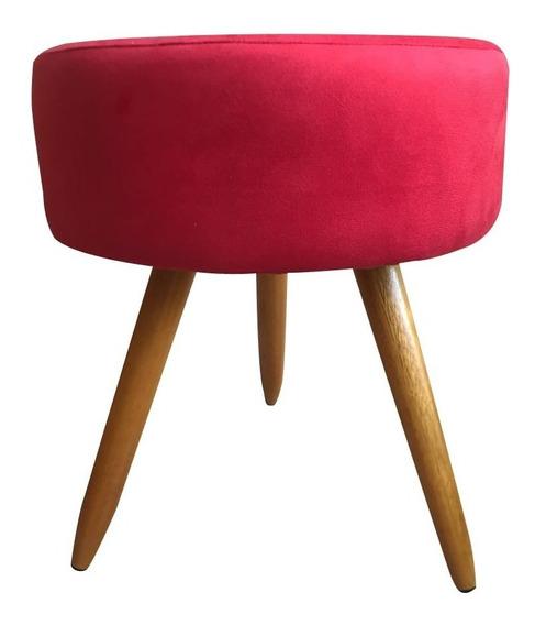 Puff Puf Decorativo Lavínia Paris Vermelho Redondo
