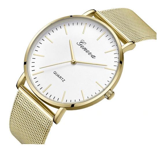 Relógio Geneva Unissex Social Elegante Básico Branco Prata