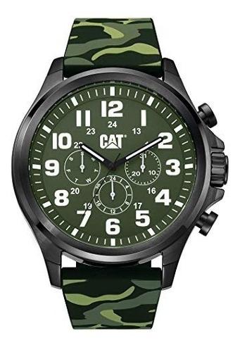Reloj Cat Hombre Camuflado Verde Cronometro Pu.169.28.818t