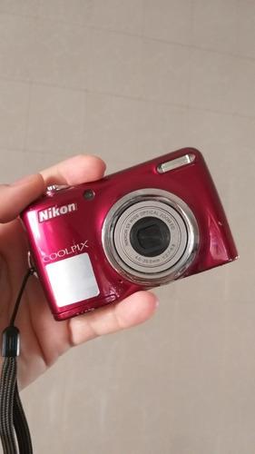 Câmera Digital Nikon Coolpix L23 Semi Nova Vermelha Completa