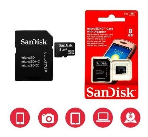 Kit 5 Cartão De Memória Sd Sandisk Original 8gb Atacado