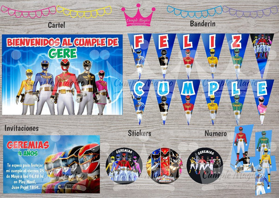 Kit Impreso Power Rangers Invitacion Banderín Cartel Sticker