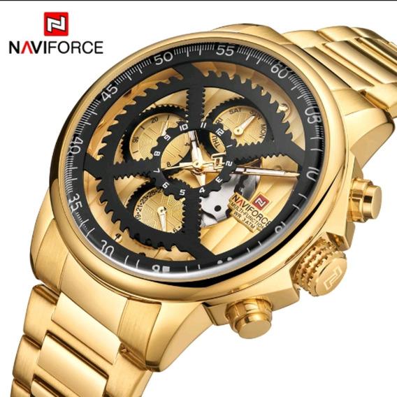 Relógio Masculino Top Luxo Naviforce Dourado