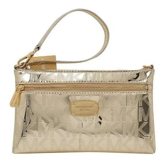 Michael Kors Sobre Billetera Jet Set Pale Gold Wristlet Bag