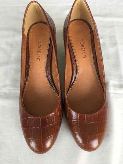 Sapato Scarpin Corello Croco Castanho - Novo