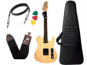 Kit Guitarra Tagima Cs3 Cacau Santos Regulada Capa Cabo