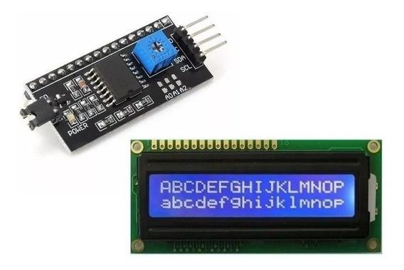 Display Lcd 16x2 Fundo Azul I2c Integrado Módulo Adaptador