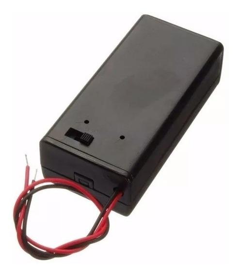 Caixa Case Suporte Bateria 9v Chave On/off + Pino Ac Arduino
