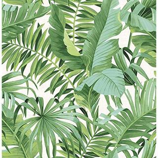 Papel Tapiz Adhesivo Pintado De Hojas Verdes, 5.40 Mts
