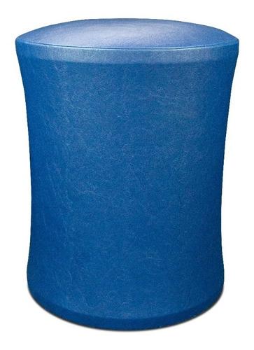 Banquinho Banqueta Puff Estofado Confortável Corino Azul
