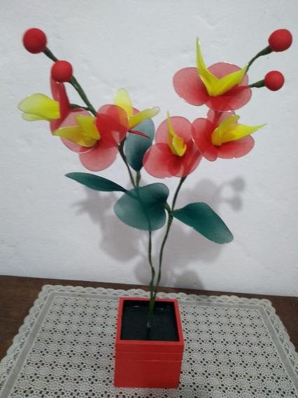 Orquídea Vaso Madeira Vermelho 2 Galhos Flor Amarelo Verde