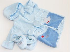 Roupão Bordado Com Chinelo Azul Baby Camesa