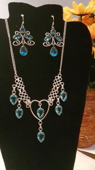 Conjunto Cristal Azul Topazio Prata Colar E Par De Brincos