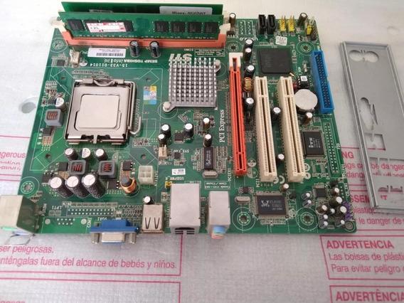Kit Placa Mãe Semp Toshiba Ata 100 + Processad + Memória #10