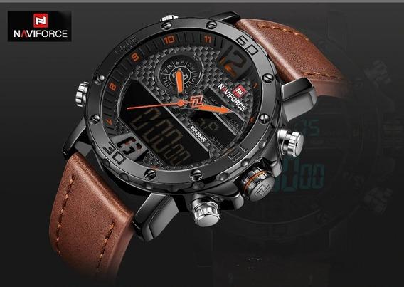 Relógio Masculino Couro Luxo Naviforce Esportivo