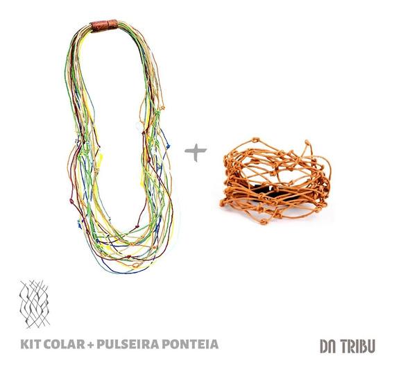 Colar + Pulseira Ponteia Feminino- Da Tribu | Biojoia