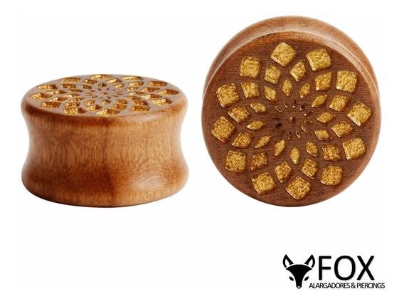 Par Alargador Plug Madeira Flor Dourada 10,12,14,16mm