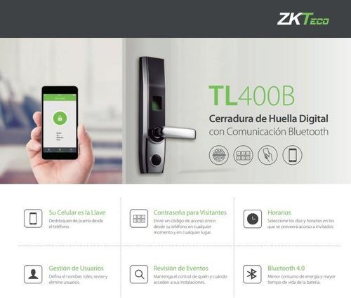 Zk Teco Cerradura Electronica Llave Huella Bluetooth Tl400b