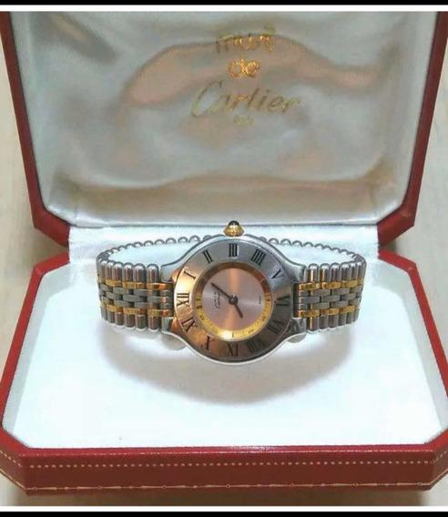 Relógio Cartier Modelo Atual Aço E Ouro Original28mm Unissex