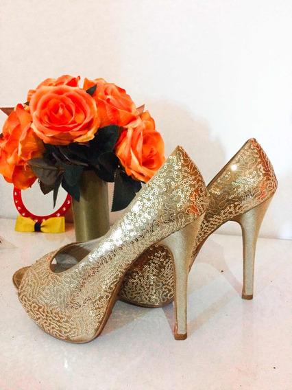 Sapato Dourado/ Ideal Para Casamento E Festa