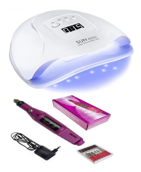Kit X3 Combo Cabina Sun 5 48w Uv-led Con Sensor Automatico + Torno Profesional + Fresas Manicuria Gel Esmalte Semi