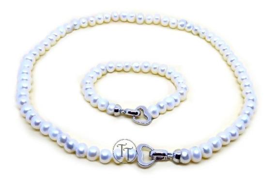 Collar-pulsera Hecho En Perlas Naturales Plata Esterlina 925