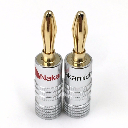 2 Plugs Banana Nakamichi Folheado A Ouro P/ Caixas De Som