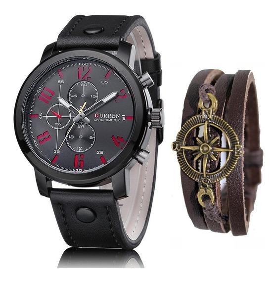 Relógio Masculino Original Curren Analógico + Pulseira Couro