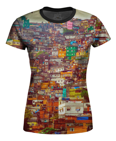 Camiseta Baby Look Feminina Favela Estampa Digital Md01
