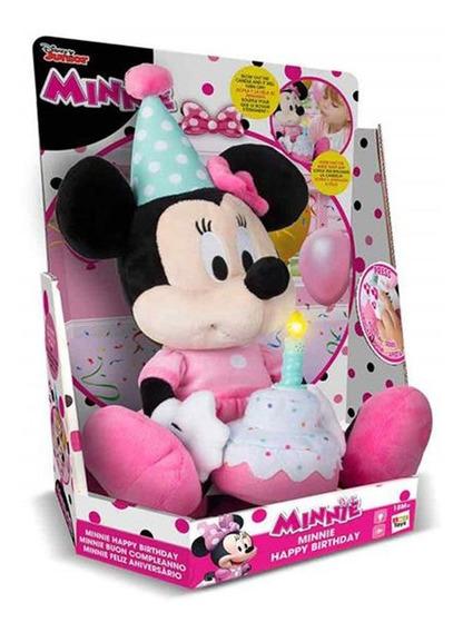 Pelúcia Com Som Personagens Disney Minnie Happy Birthday
