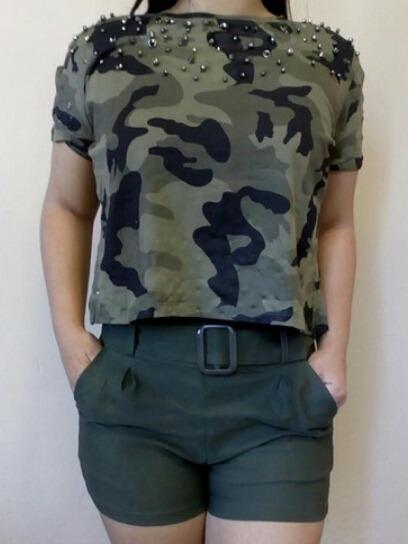 Blusa T-shirt Feminina Camiseta Militar Com Pedraria