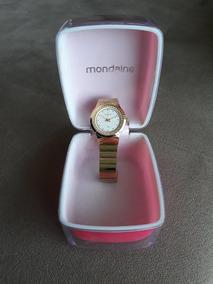 Relógio Feminino Lince 30m Dourado Strass + Caixa E Manual
