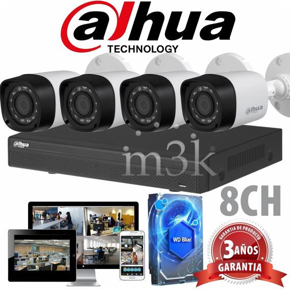 Kit Seguridad Dahua Full Hd Dvr 8 Ch + Disco 1 Tb Instalado + 4 Camaras Infrarrojas Exterior / Domos Interior + Ip Cctv