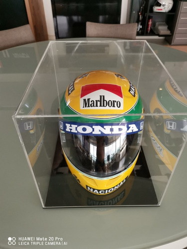 Imagem 1 de 3 de Capacete Ayrton Senna Com Case Em Acrilico Temporada 91