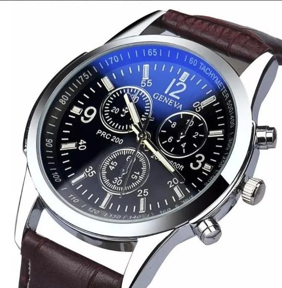Relógio Masculino De Luxo Pulseira Couro Social Barato Top