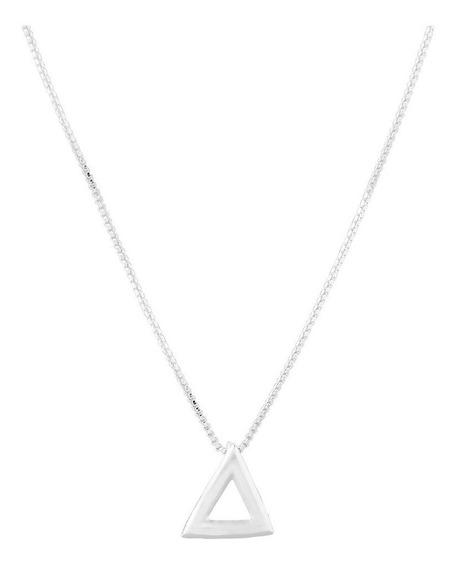 Colar De Prata Shine Triângulo Coleção Geometrics