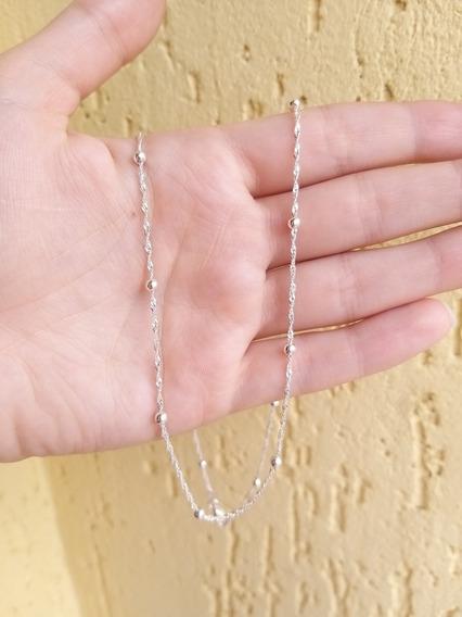 Cadena En Plata Con Perlitas Pequeñas