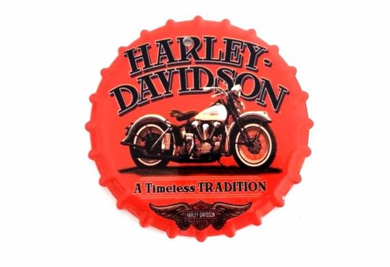 Placa Decorativa Ceramica Tampa Garrafa Harley Davidson C10