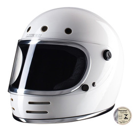 Capacete Lucca Customs Magno V2 Glossy White - Frete Grátis