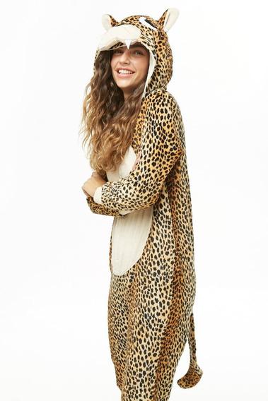 Forever 21 Mameluco Afelpado Onesie Kigurumi Leopardo Pijama