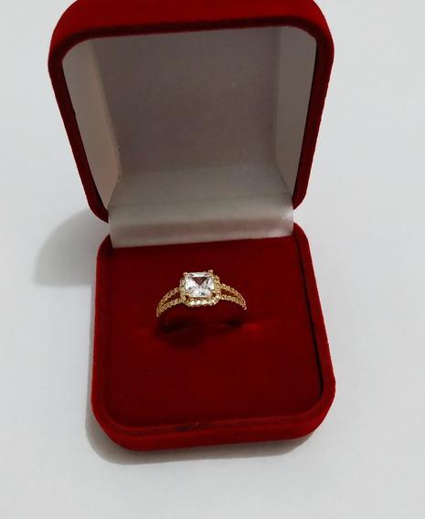 Anel Cristal Quadradinho Com Zircônia Cravejado Ouro 18k