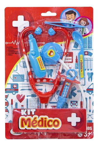 Kit Médico Brinquedo Infantil 5 Pçs Termômetro Seringa Pinça