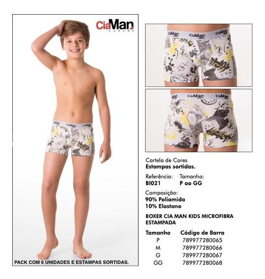Kit Cueca Boxer Cia Man Kids Micro Estampa C/6 - Sem Juros