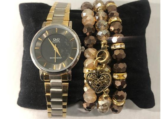 Relógio Analógico Q&q Q945j402y Feminino Prateado E Dourado
