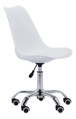 Cadeira Secretária Eammes Com Rodinhas Trevalla Branca