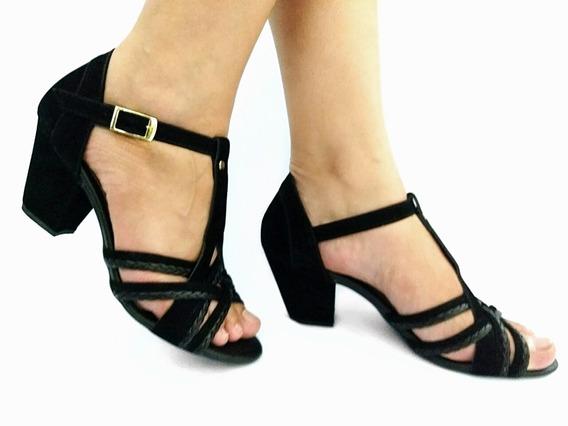Sandalia Salto Grosso Baixo Preto / Nude