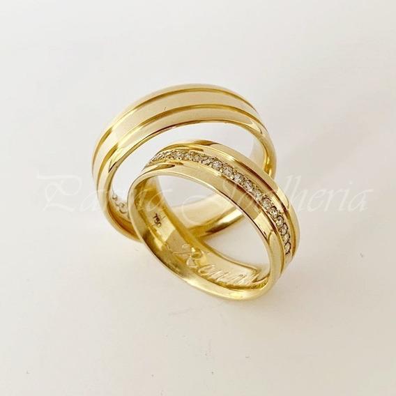 Par De Alianças Em Ouro 18k 750 15 Gramas 6 Mm 20 Diamantes