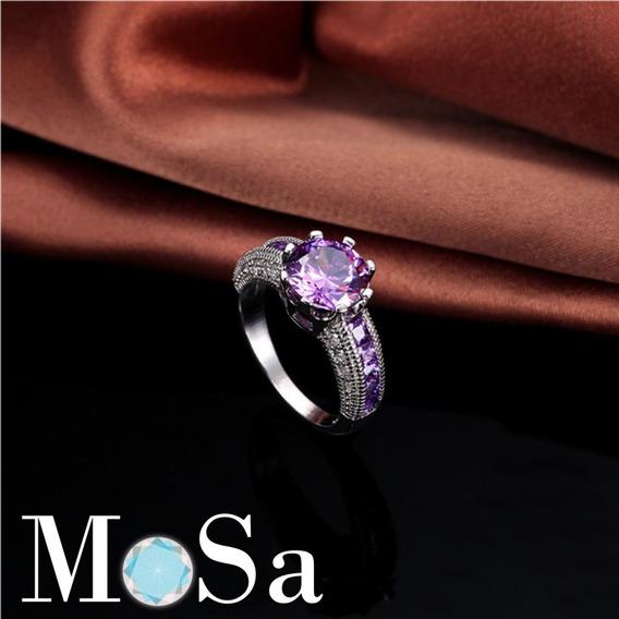 Anillo De Compromiso Plata .925 Zirconias Purpura