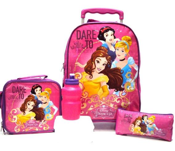 Kit Mochila Infantil Princesas Disney Rodinha G Rosa Meninas