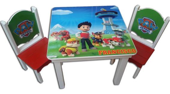 Mesas Infantiles + 2 Sillas De Varios Personajes